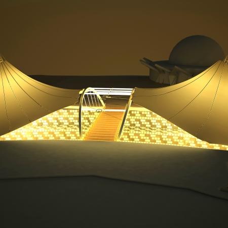 طراحی نورپردازی استراکچر چادری پارک آب و آتش
