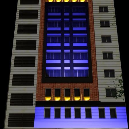طراحی نورپردازی نمای بانک رفاه پروژه شخصی