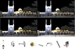 طراحی نورپردازی نما و بازارچه آستان مقدس امامزاده عبدالله (ع) بافق