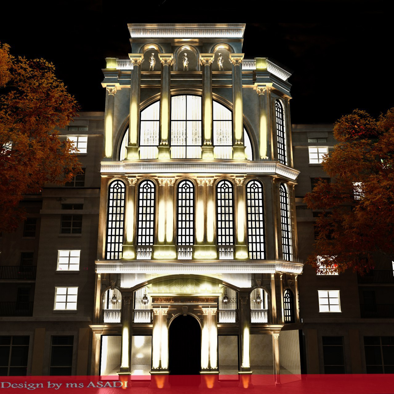 طراحی نورپردازی نمای تالار برادران جلیلوند