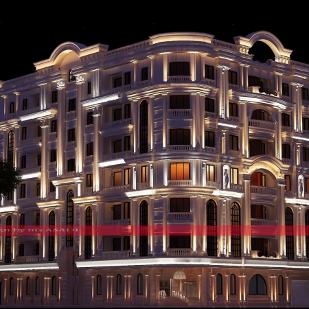 طراحی نورپردازی نمای ساختمان مسکونی دکتر کهندانی